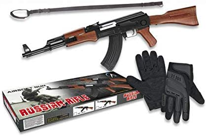 Set de Airsoft, AK47 de Aire Suave 0,5 Julios 38320, Cinta 34207 y Guantes tácticos 34348 Airsoft Paintball Caza Supervivencia tactico Camping Outdoor 33967 + Portabotellas de regalo