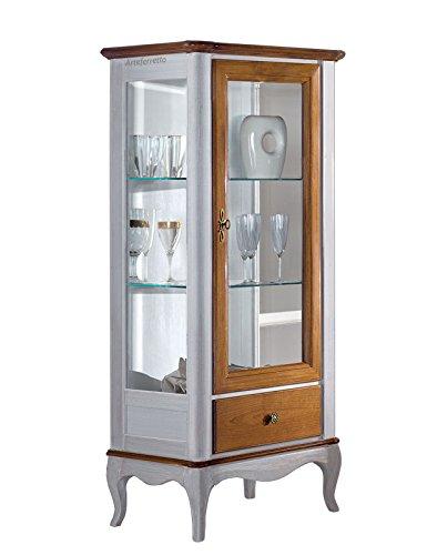 Vetrinetta bicolore 61 x 41 x H 140 cm, vetrina piccola classica 1 ...