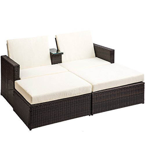 Outdoor Patio Bed - Merax 3 PC Outdoor Rattan Patio Furniture Wicker Sofa/Bed Sectional Lounge Furniture Set
