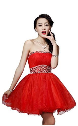 Dearta Rosso abito Brevi Palla Senza Donne Delle Spalline Cocktail Mini Dresees 6R76ZHr