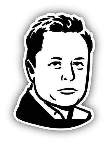 (Elon Musk Vinyl Decal Sticker Cartoon Caricature Funny Face Tesla Spacex)