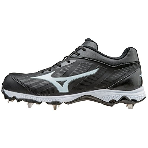 Mizuno Women's 9-Spike Advanced Sweep 3 Metal Softball Cleats - Black & White (Women's Size 8.5) - Mizuno Womens 9 Spike