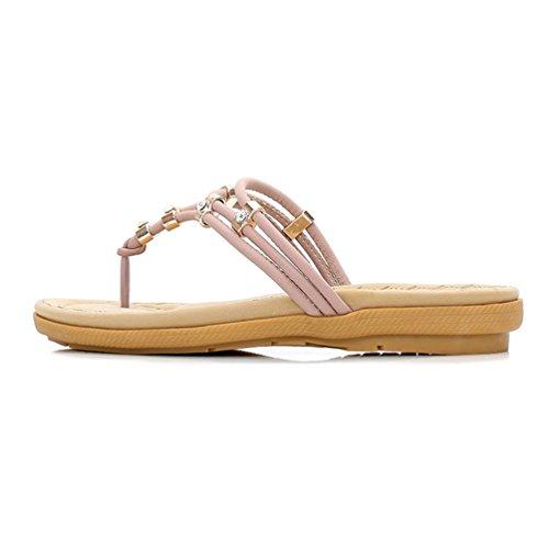 Comfort Pourpre JRenok Summer étincelantes Strappy Beach Les Tongs pour Femmes Plates Rose Sandales Strappy Thong xrqfwOxvR