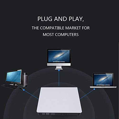 E.I.H. USB External Drive Compact Size Slim External USB 3.0 Laptop PC Drive DVD RW CD Writer Burner Recorder Slot Load Reader Player Optical Drive