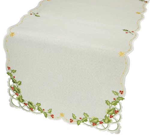 - Xia Home Fashions Winter Berry Christmas Table Runner, 15 by 54-Inch