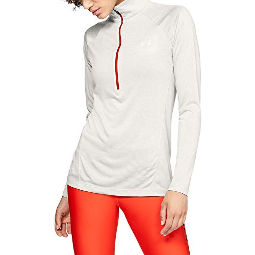 Under Armour womens Tech Twist ½ Zip Long Sleeve Pullover, Ghost Gray (592)/Metallic Silver, Large