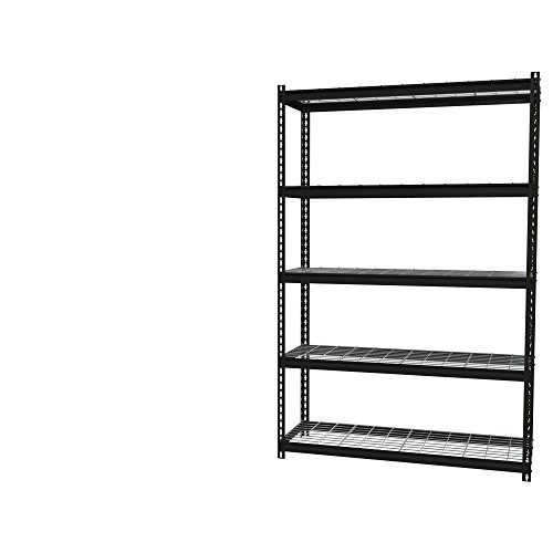 Office Dimensions Riveted Steel Shelving with Wire Shelves, 5 Shelf, 18'' D x 48'' W x 72'' H, Black by Iron Horse