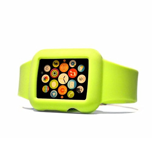 Apple Watch 42 mm Full Protective Silicone Case with Wirst Band by Soul Cole Ultra Light and Soft with a nice touch feeling Stainless Steel Buckle clasp for all Apple Watch Models 42mm