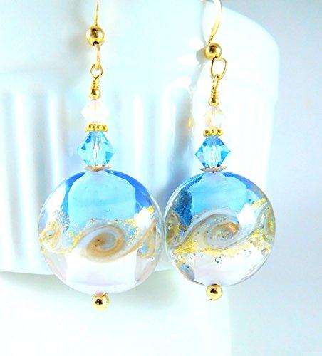 Light Blue White and Gold-Foil Murano Glass Earrings