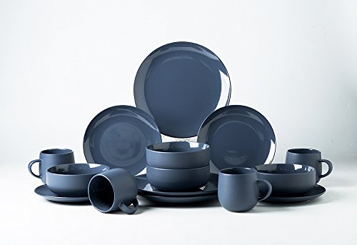 Pangu 16-Piece Porcelain Dinnerware Sets, MACARON, Frosted o