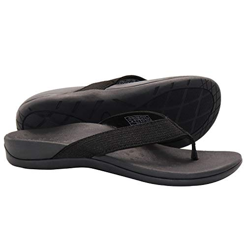 IRSOE Plantar Fasciitis Sandal Flip Flops with Arch Support Women's Orthotic Sandals - Summer Essential Sandal Outdoor & Indoor- Black 10US/41EU