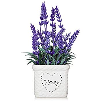 YAPA Potted Lavender Flowers -Small Artificial Plants - Fake Purple Flower with White Ceramic Vase for Home, Party & Wedding Décor