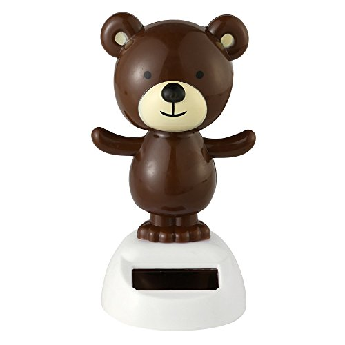 Makaor Solar Powered Dancing Bear Swinging Animated Bobble Dancer Toy For Party By (Size: 10cmx6cm, B) -