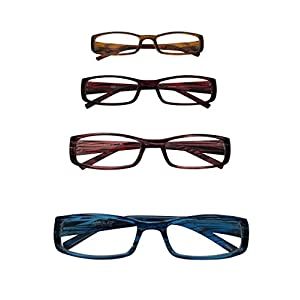 ABS by Allen Schwartz High Quality Reading Glasses - Four Pack Featuring Stylish Designs - Brown / Pink / Red / Blue - 1.50