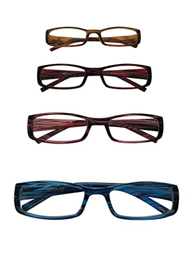 ABS by Allen Schwartz High Quality Reading Glasses - Four Pack Featuring Stylish Designs - Brown / Pink / Red / Blue - - Luxury Glasses Reading