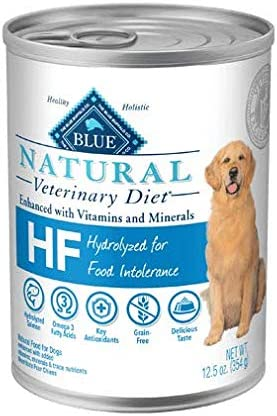 Blue Natural Veterinary Diet HF Hydrolyzed for Food Intolerance Grain-Free Canned Dog Food 12 12.5 oz