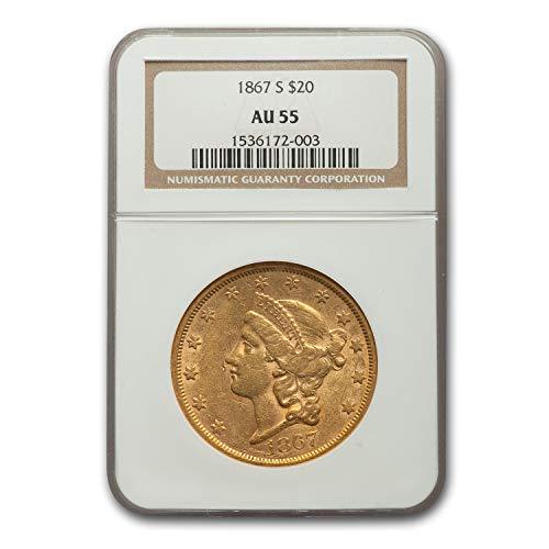 1867 S $20 Liberty Gold Double Eagle AU-55 NGC G$20 AU-55 NGC