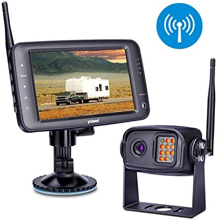 Wireless Backup Camera System, IP69K Waterproof Wireless Rear View Camera 5 LCD Wireless Reversing Monitor for Trailer, RV, Trucks, Horse-Trailer, School Bus, Farm Machine,etc