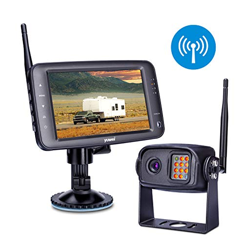 Wireless Backup Camera System, IP69K Waterproof Wireless Rear View Camera + 5'' LCD Wireless Reversing Monitor for Trailer, RV, Trucks, Horse-Trailer, School Bus, Farm Machine,etc (Best Rv And Truck Supply)