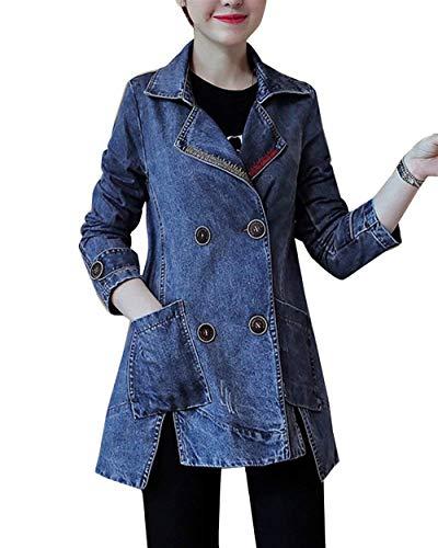 Giacche Blau Jeans Transizione Tasche Giacca Pingrog Autunno Double Di Bavero Elegante Casuale Donna Breasted Lunga Cappotto Irregular Manica Unico Anteriori HxqYnz5