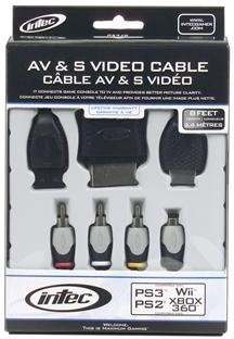 Intec Inc Universal Av S-Video Cable Ps2 Ps3 Wii Xbox360 Video Left Right Audio Inputs