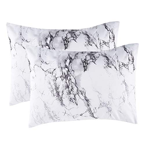 Wake In Cloud - Pack of 2 Pillow Cases, Black White and Gray Grey Marble Modern Pattern Printed Soft Microfiber Pillowcases (2pcs, King Size, 20x36 Inches)