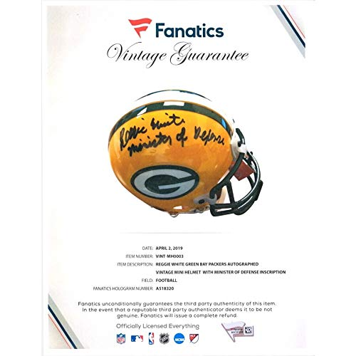 (Reggie White Green Bay Packers FAN Autographed Signed Mini Helmet With Minister Of Defense Inscription - Certified Signature)