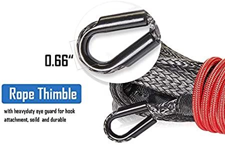 Winch Line Rope with Protective Sleeve ZEAK 1//5/'/'/×49/' Durable Gray Synthetic Rope 5300lb Max Breaking Strength for 4WD Off Road ATV UTV Truck Silver-Gray