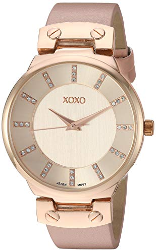 XOXO Women's Stainless Steel Analog-Quartz Watch with Leather-Synthetic Strap, Pink, 21 (Model: XO3466)