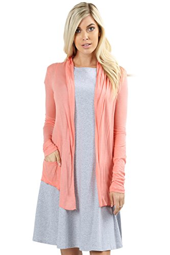 Women's Cardigan Summer Long Sleeve Waterfall Drape Hacci Breathable Solid W/Pocket -Ash Coral (Small)