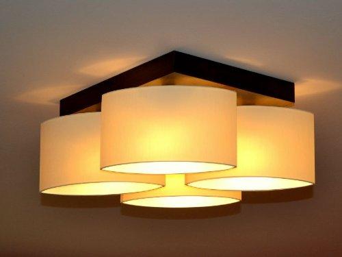 Creme Deckenlampe Deckenleuchte Lampe Leuchte 4 flammig TOP Design ROMA RO-D4 (Braun Creme)