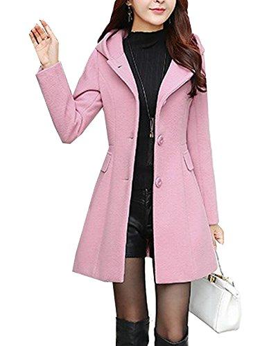 S&S-women Sweet Heart Solid Splicing Lapel Double Breasted Side Pocket Wool Pea Coat Pink