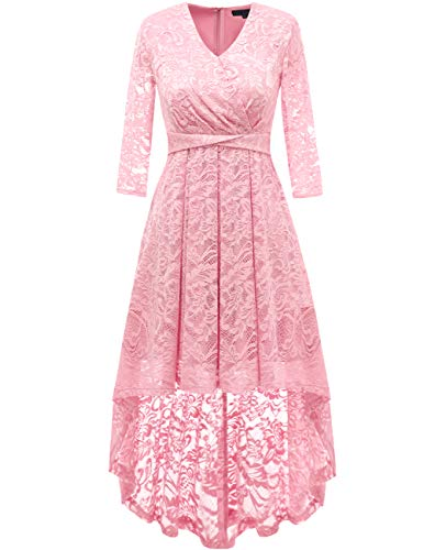 - DRESSTELLS Women's Vintage Floral Lace Bridesmaid Dress 3/4 Sleeve Wedding Party Cocktail Dress Pink XL