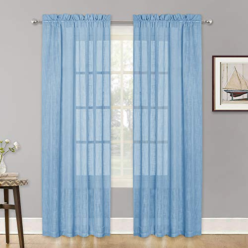 (RYB HOME Window Sheer Curtains with Linen Like Pattern, Dual Rod Pocket Curtains for Nursery, Extra Long Curtains for Sliding Glass Door Privacy Light Filter, Baby Blue, 52