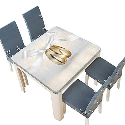 PINAFORE Jacquard Polyester Fabric Tablecloth Golden Colored Wedding Rings Ribbon Marriage Jewel Realistic Photo White Gold Summer & Outdoor Picnics 69 x 69 INCH (Elastic Edge) (Ribbon Dot Jacquard)