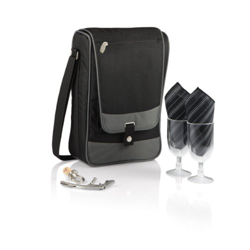 Picnic Time 'Barossa' Insulated Wine Tote with Wine Accessories for Two, - Time Bag Deluxe Picnic Beach