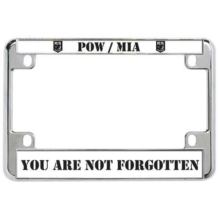 POW/MIA You are NOT Forgotten Military Metal Motorcycle License Plate Frame Perfect for Men Women Car garadge Decor