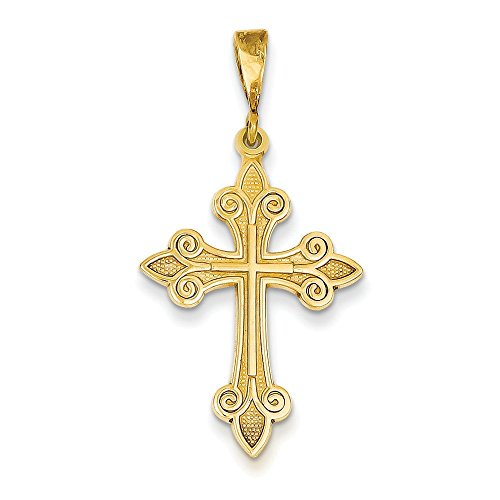 14 carats Fleur de Lis lys pendentif en forme de croix-Dimensions :  26 x 20 mm JewelryWeb -