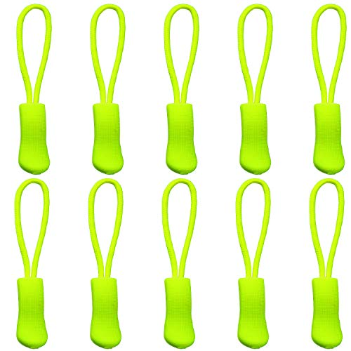 (Yzsfirm 10 Pcs Extension Zipper,Fluorescent Yellow Durable Zipper Pulls Strong Nylon Cord Rubber Textured No-Slip Pull Rope Fit Any Zipper)