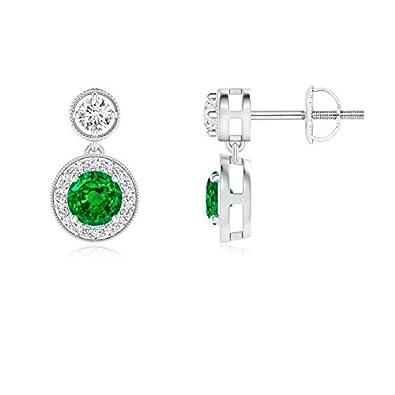 Angara Dangling Tanzanite and Diamond Halo Earrings with Milgrain in Platinum aZMpy9Gza