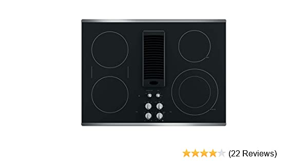 GE PP9830TJWW 30 Inch Smoothtop Electric Cooktop with 4 Burners 3-Speed Downdraft Exhaust System 9/6 Inch Power Boil Bridge Element and