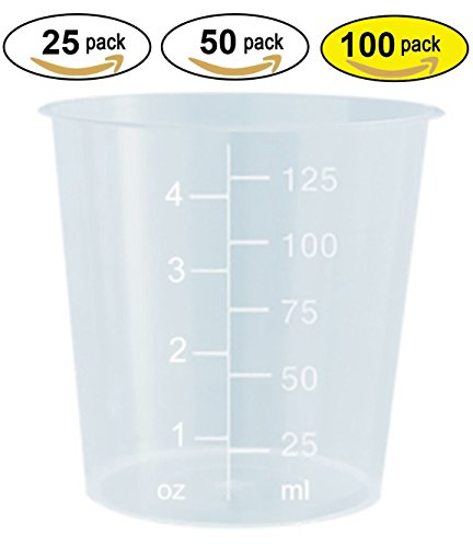 Plastic Polypropylene (4oz Graduated Transparent Polypropylene Plastic Cups for Mixing Epoxy, Resin, Paint, and Stain - 100 Count)