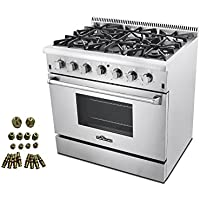 36' Pro-style 6 Burner Gas Range + LP Conversion Kit Bundle
