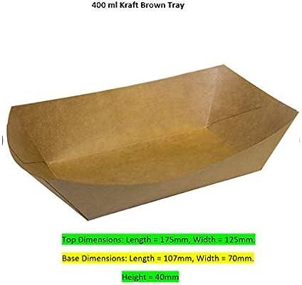 Bandejas de papel para alimentos – Cuencos de cartón kraft (pequeño a grande) 100 unidades, 400ml Kraft, 100: Amazon.es: Industria, empresas y ciencia
