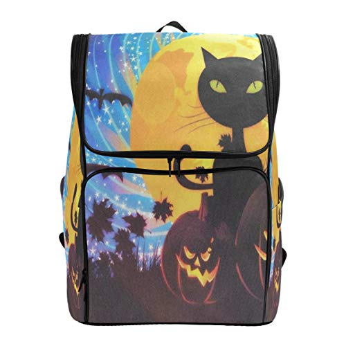 Laptop Backpack Halloween Party with Cat College Backpack for Women Large Carry On Back -