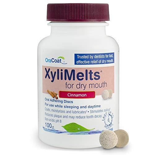 OraCoat XyliMelts Dry Mouth Relief Moisturizing Oral Adhering Discs Cinnamon with Xylitol, for Dry Mouth, Stimulates Saliva, Non-Acidic, Day and Night Use, Time Release for up to 8 Hours, 100 Count.