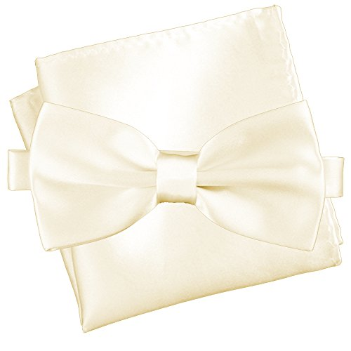leman's Essentials Bow Tie and Pocket Square Matching Set (Pearl White [Silky Smooth]) (Essentials White Pearl)