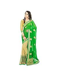 Janasya women's Green colour printed chiffon saree
