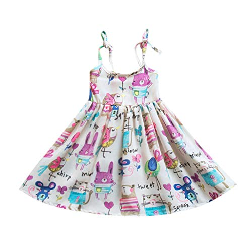 MOGOV Summer Toddler Infant Baby Kids Striped Cartoon Printed Sling Pleated Princess Dress White]()
