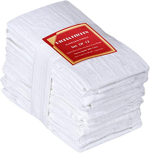 Utopia Kitchen Flour Sack Dish Towels, 12 Pack Cotton Kitchen - Sack White